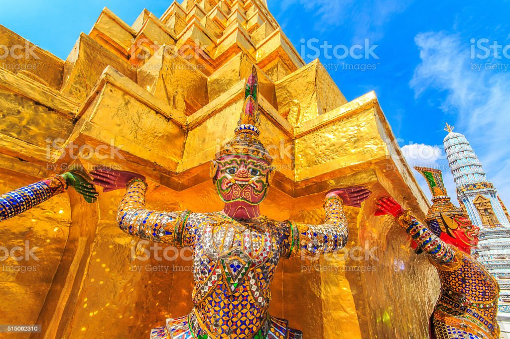 Golden Pagoda and separate the glass statue , Bangkok, Thailand. stock photo
