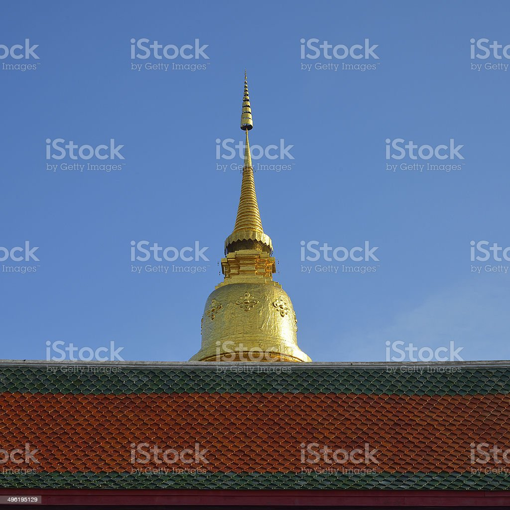 Golden pagoda architecture of northern thailand in temple royalty-free stock photo