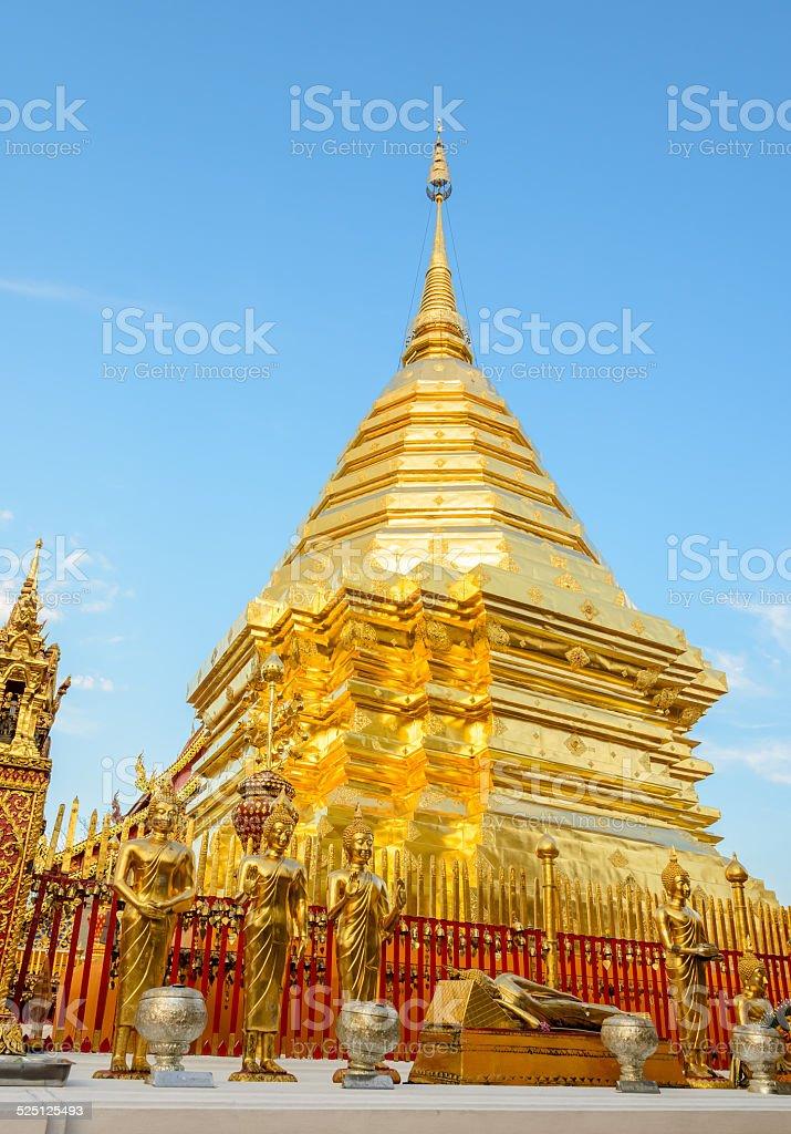 Golden pagoda at Doi Suthep temple, landmark of Chiang Mai stock photo