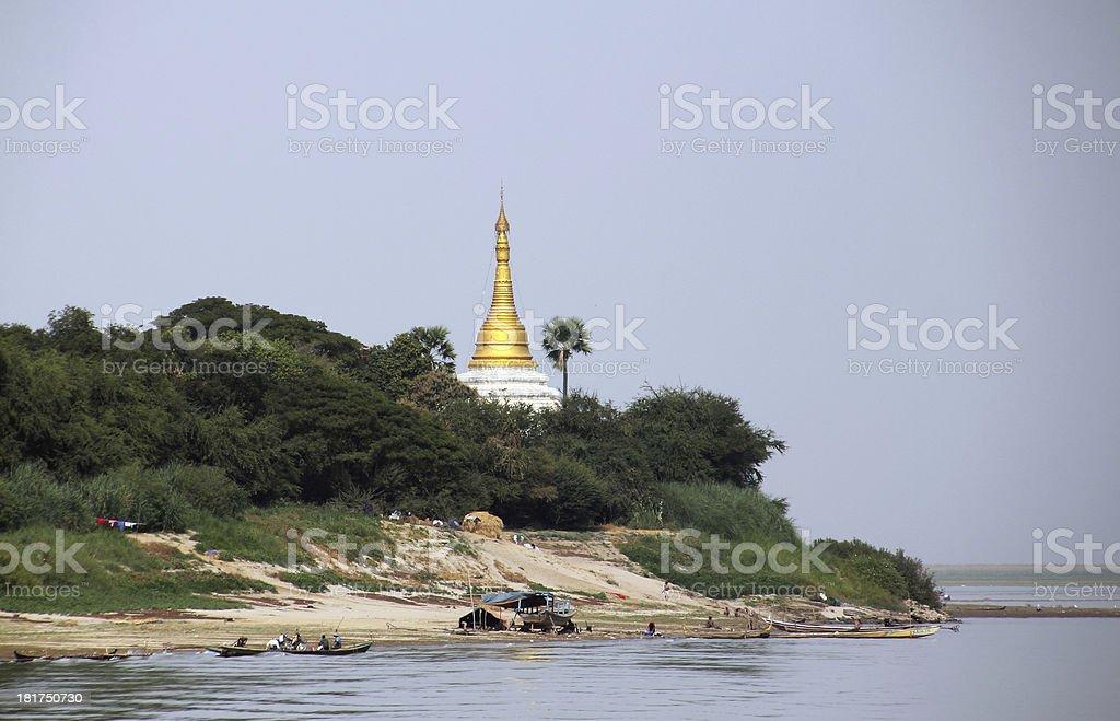 golden pagoda at Irrawaddi river royalty-free stock photo