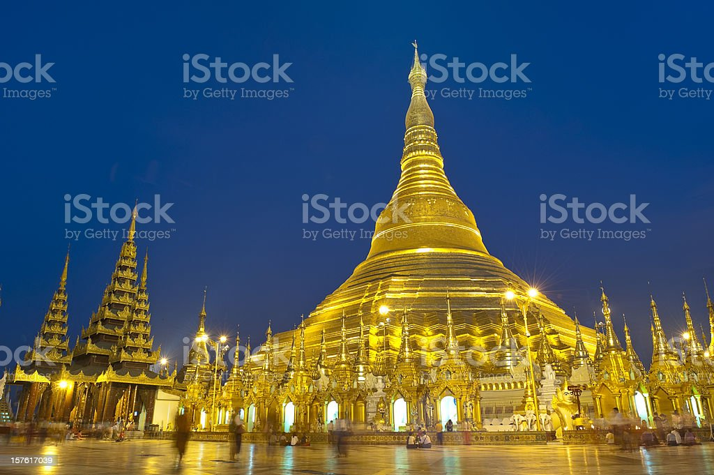 Golden Pagoda at night,Yangon, Myanmar royalty-free stock photo