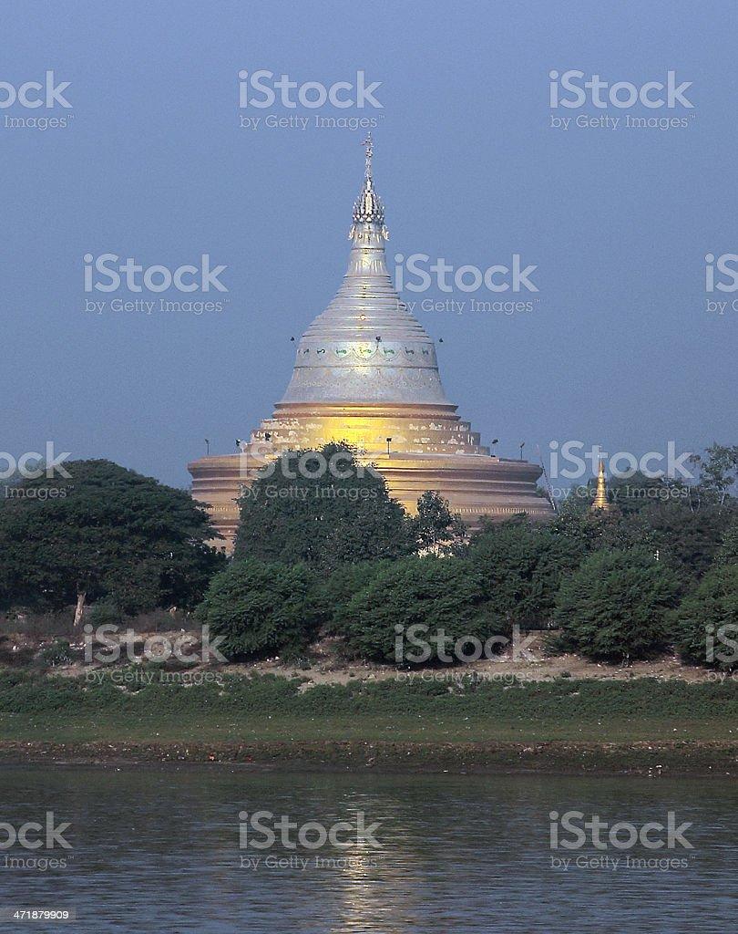 golden Pagoda at the Irawaddi royalty-free stock photo