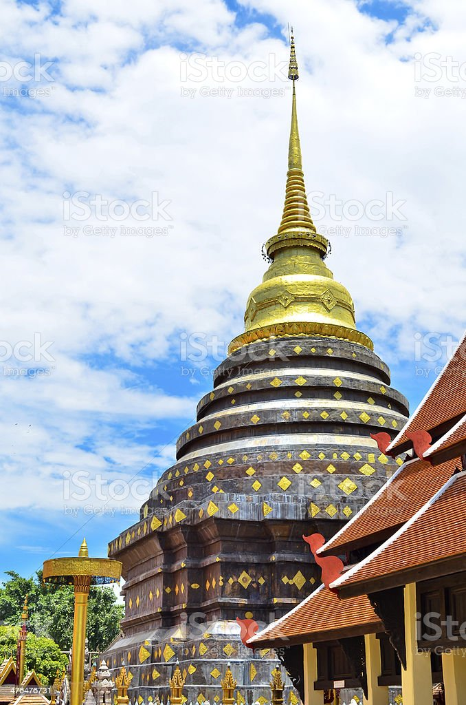 Golden Pagoda in ancient temple of northern chiang mai ,THAILAND royalty-free stock photo