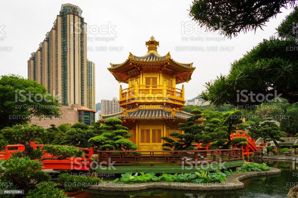 Golden Pagoda in Chi Lin Nunnery - Hong Kong stock photo