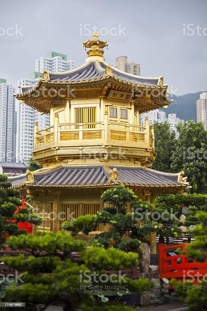 Golden Pagoda In Hong Kong royalty-free stock photo
