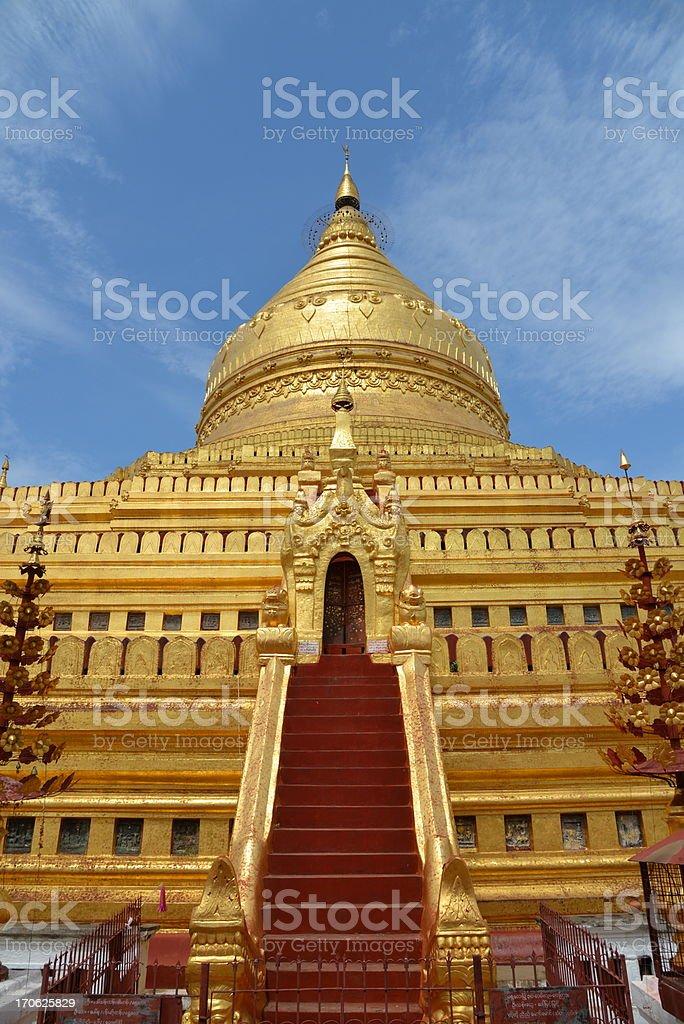 Golden pagoda in Myanmar royalty-free stock photo