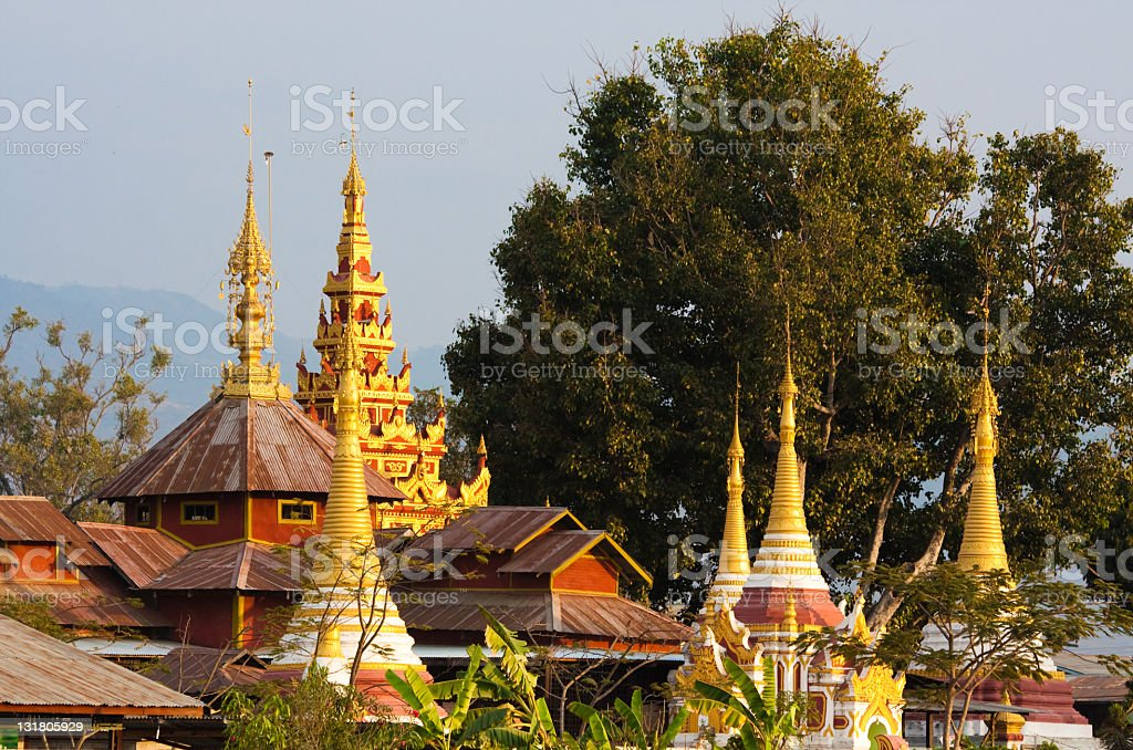 Golden pagoda in Nyaung Shwe, Myanmar royalty-free stock photo