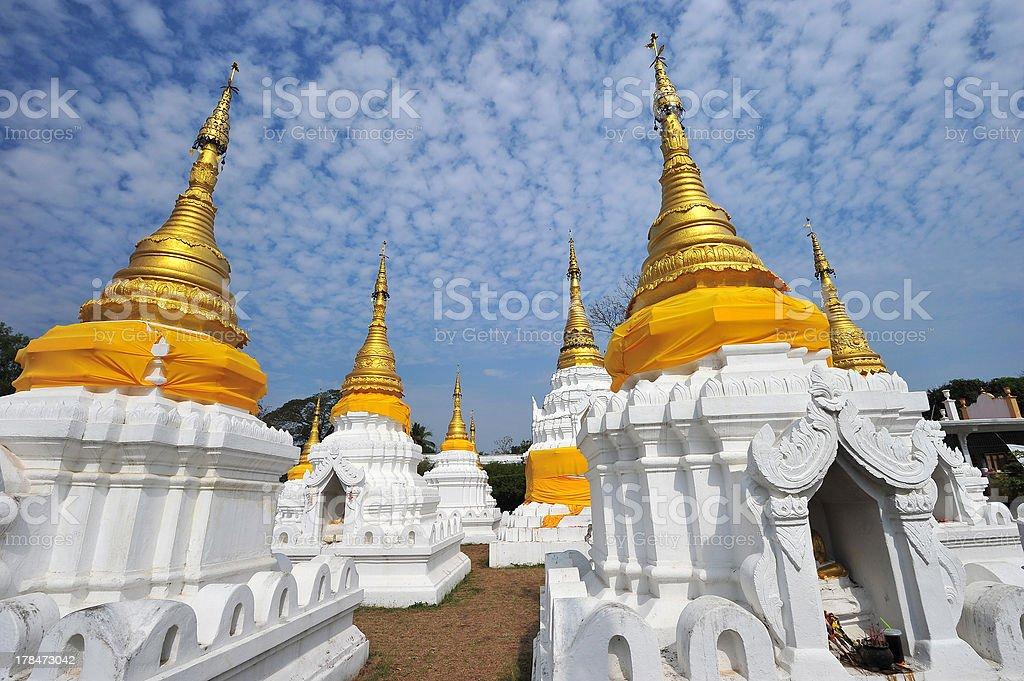 Golden Pagoda in wat jehdi shao, lumphang, thailand royalty-free stock photo