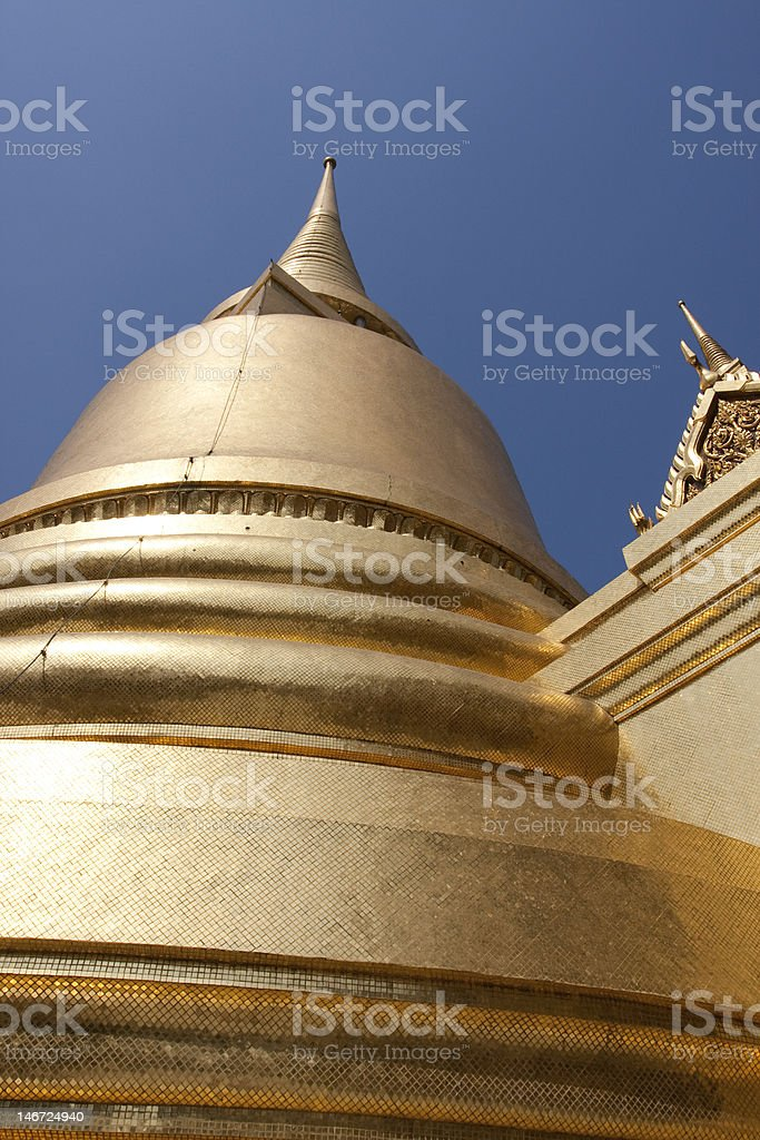 Golden Pagoda in Wat Phra Kaew stock photo