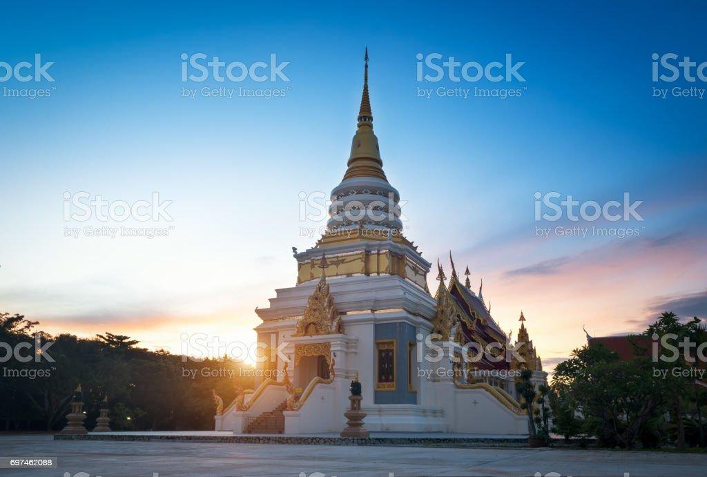 Golden Pagoda Temple tourist attraction in Pattaya,Thailand stock photo