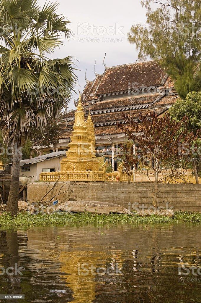 Golden pagoda, Tonle Sap lake stock photo