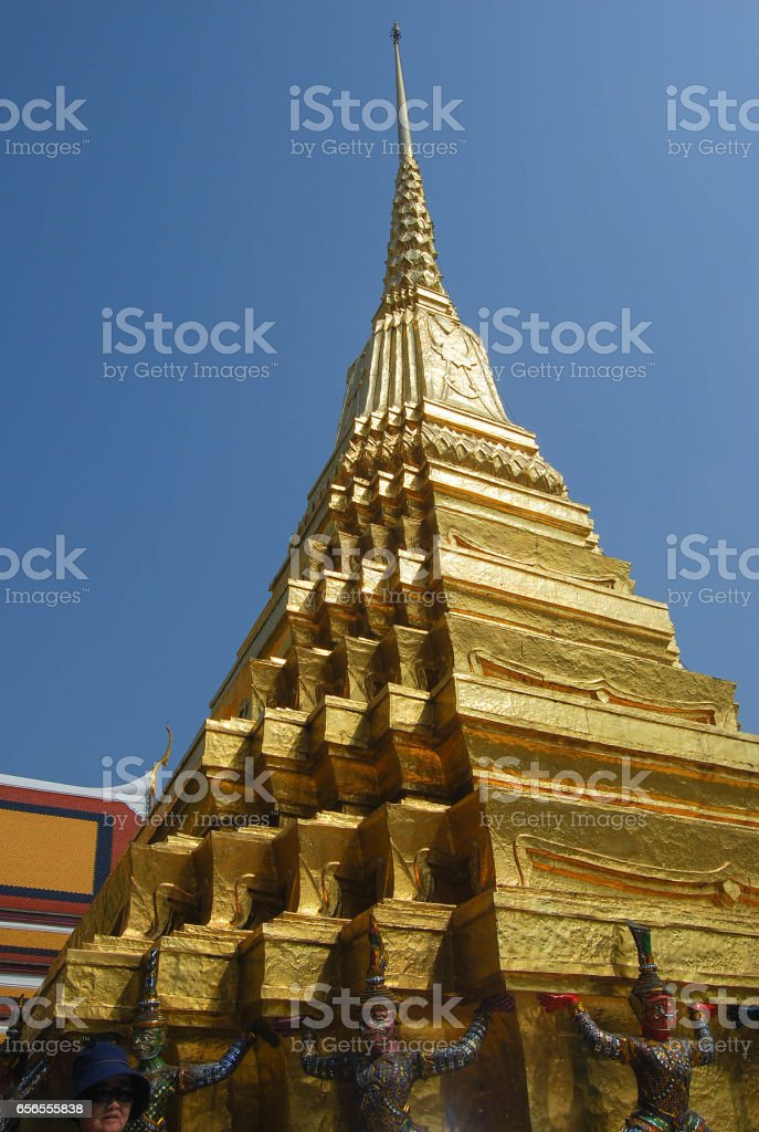 Golden pagoda, Wat Phra Kaeo (the Temple of the Emerald Buddha) within the Grand Palace, Bangkok, Thailand stock photo