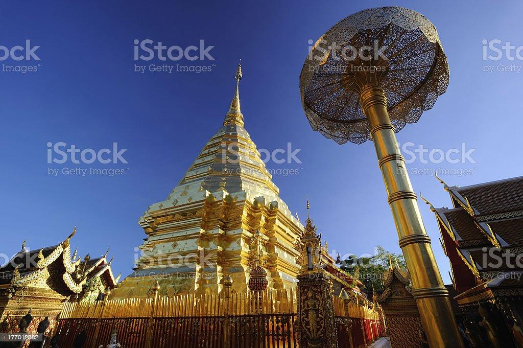 Golden Pagoda, Wat Prathat Doi Suthep temple. stock photo