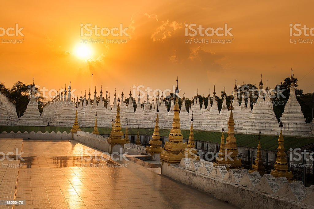 Golden pagodas is on Sagaing Hil stock photo
