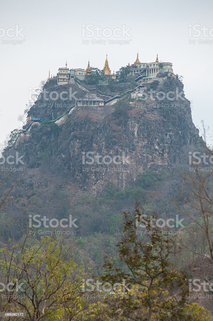 Golden pagodas is on Sagaing Hill stock photo