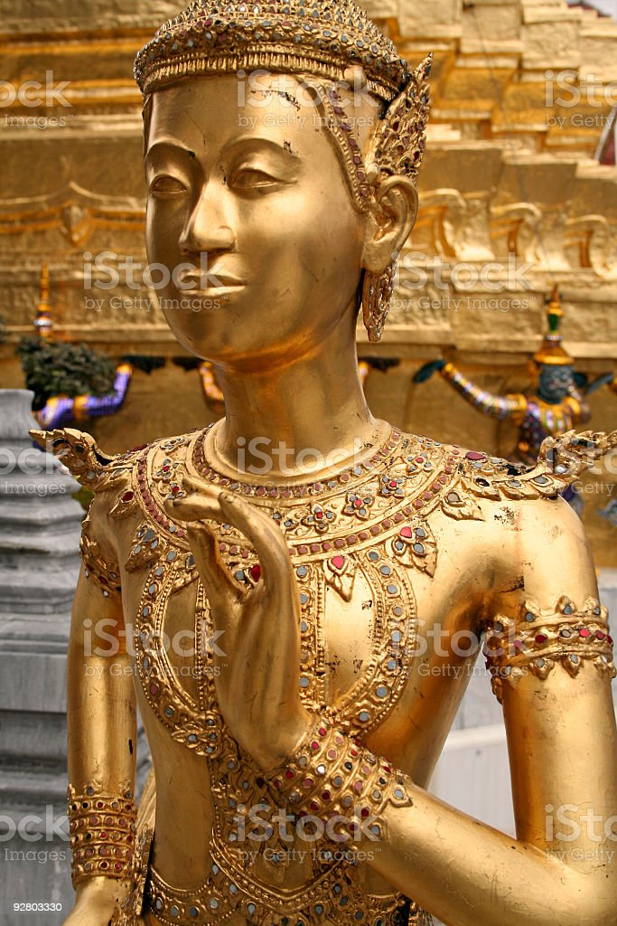 golden palace kinnaree statue bangkok thailand royalty-free stock photo