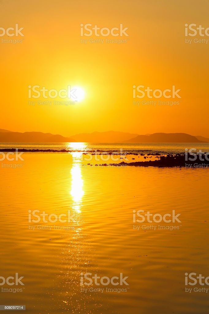 Golden paradise island in Indonesia. stock photo