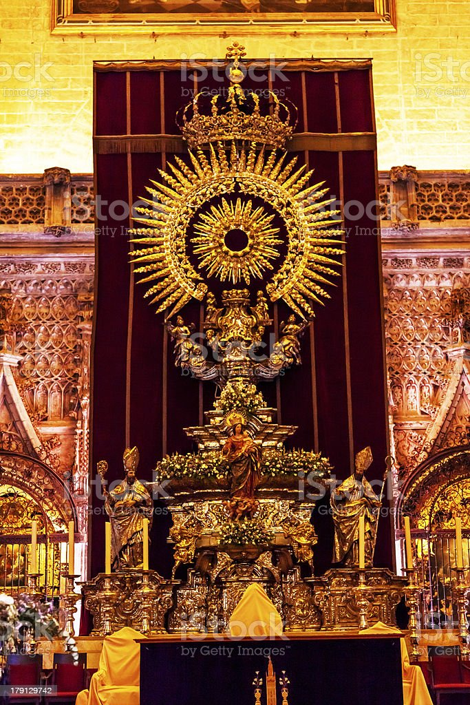 Golden Paseo Madonna Statue Seville Cathedral Spain royalty-free stock photo
