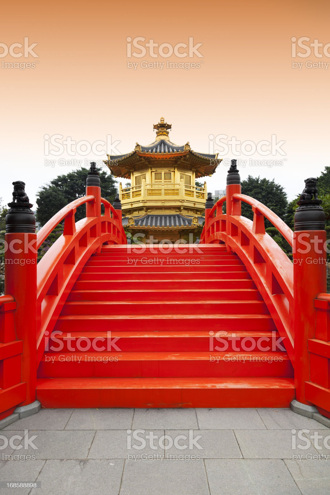 Golden pavilion in Chinese nunnery royalty-free stock photo