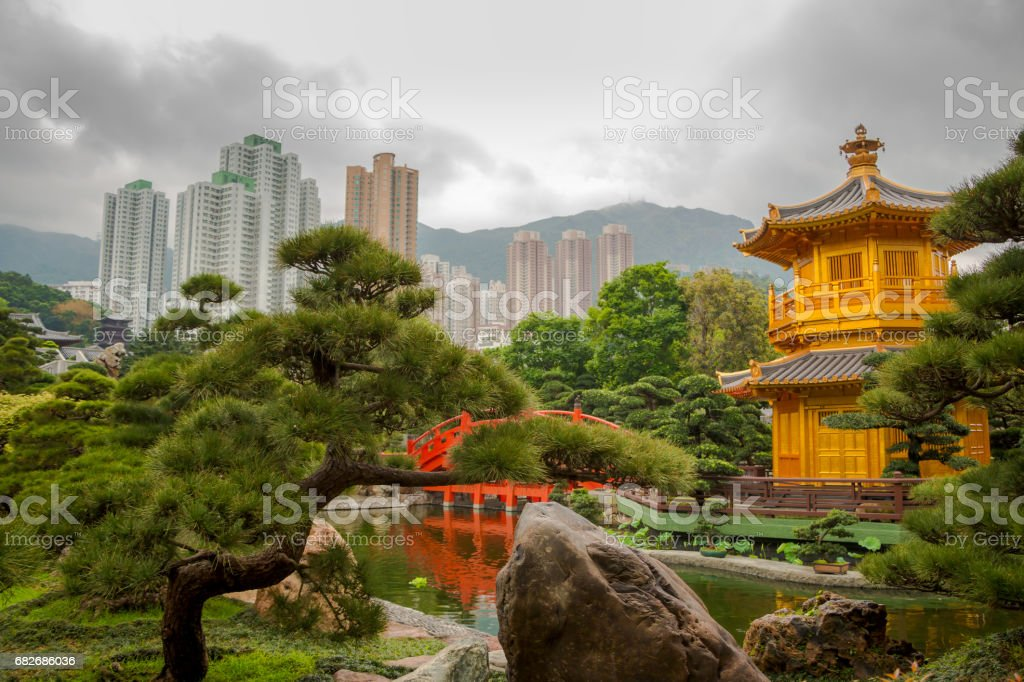 Golden Pavilion in Hong Kong City and Overcast stock photo