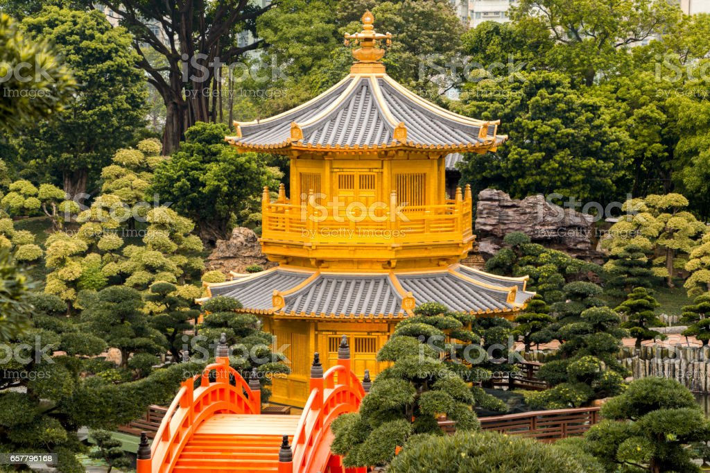 Golden Pavilion in the City Park of Hong Kong stock photo