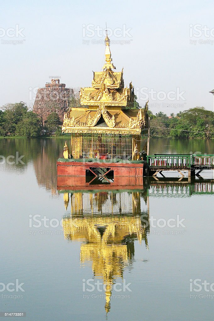 Golden Pavilion on Inya Lake stock photo
