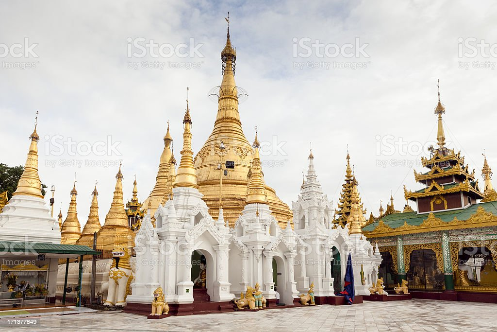 Golden Payas and Temples royalty-free stock photo