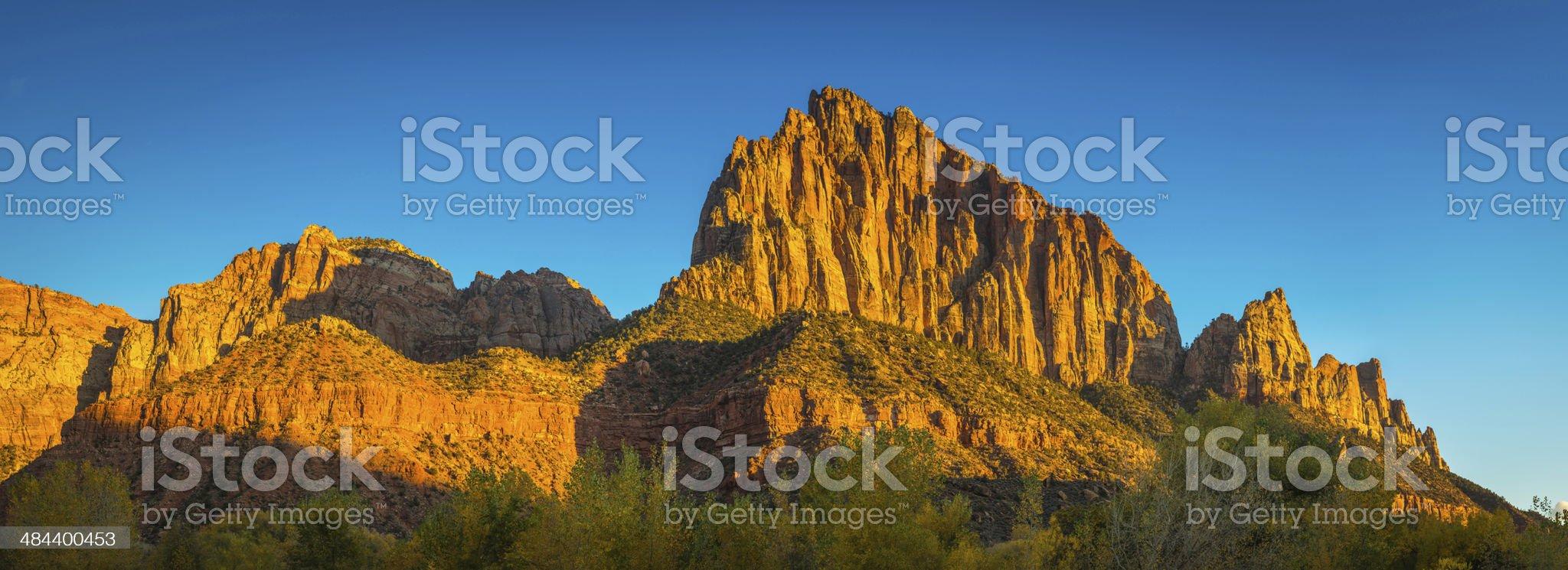 Golden peaks desert rock formation panorama Zion National Park Utah royalty-free stock photo