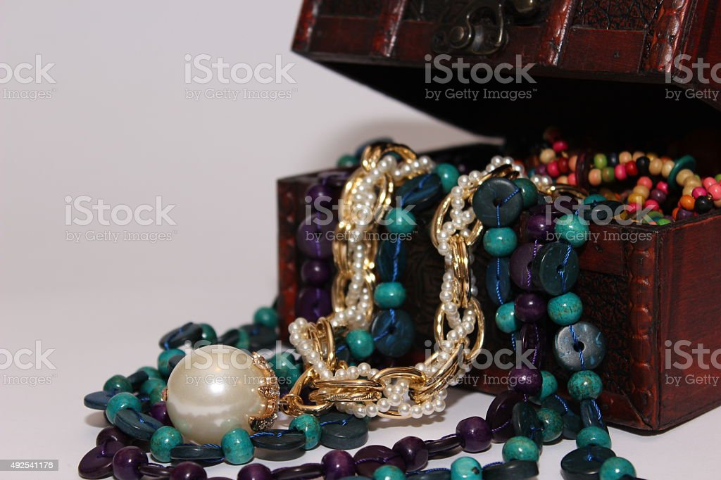 Golden pearl - jewelry box stock photo