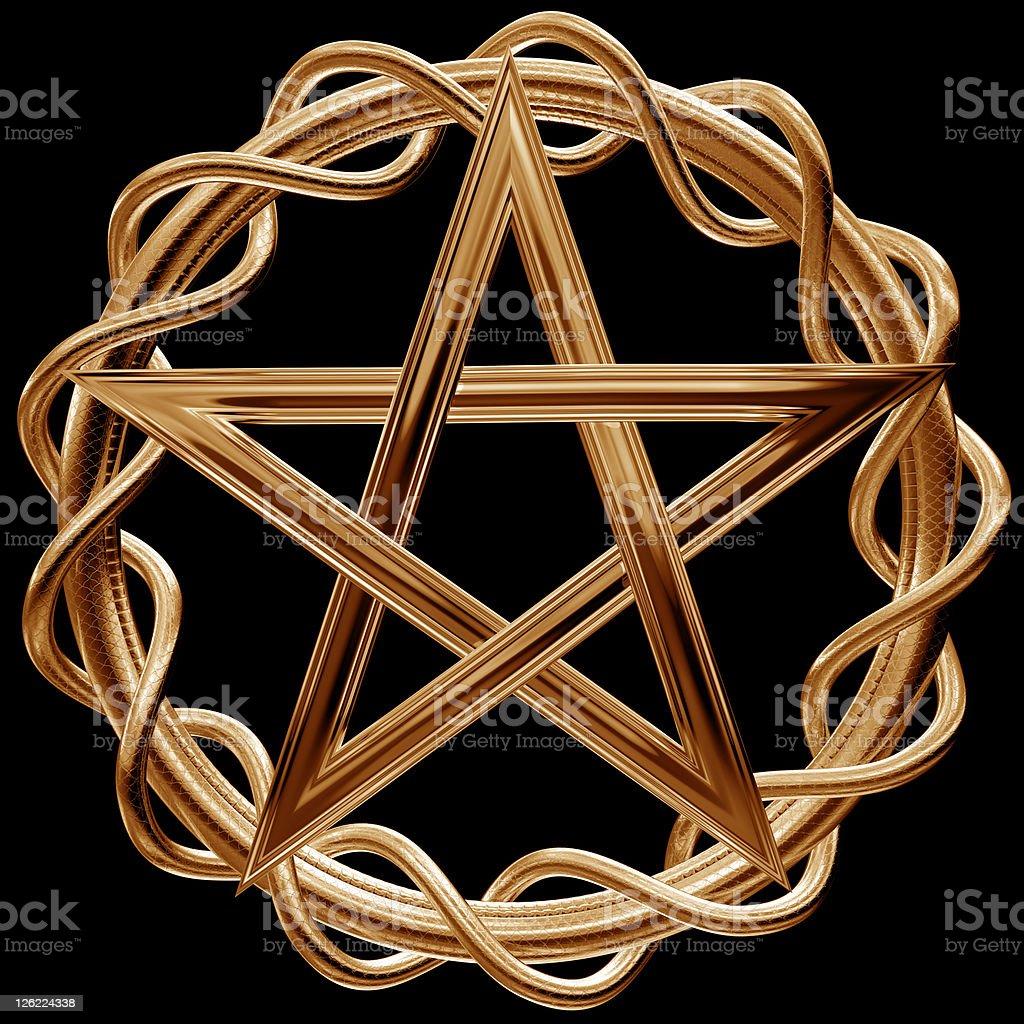 Golden pentagram royalty-free stock photo