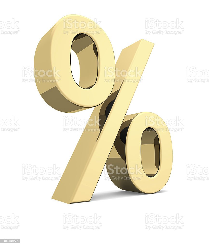 Golden percent symbol royalty-free stock photo