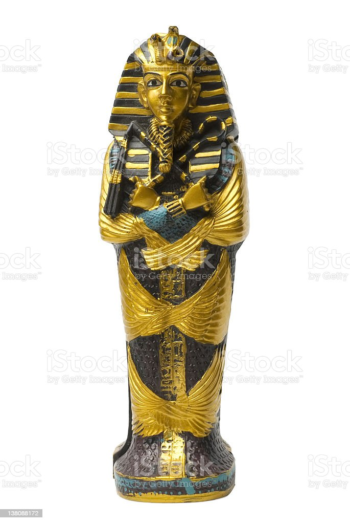 Golden pharaoh statue stock photo