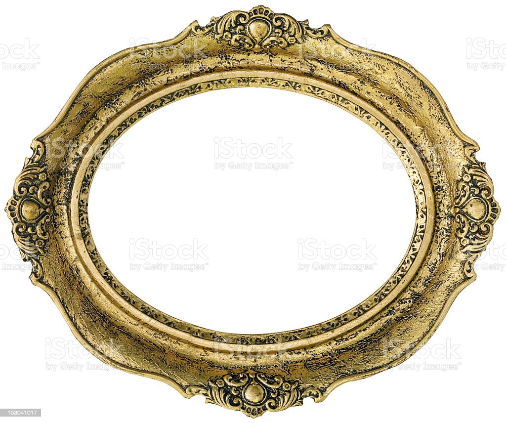 Golden picture frame cutout stock photo
