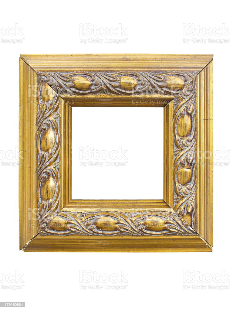 Golden picture frame isolated on white background. royalty-free stock photo