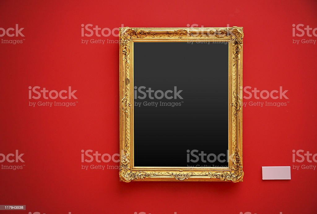 golden picture frame (clipping path) stock photo