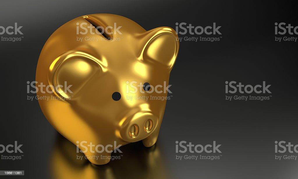 Golden Piggy Bank 3D Render 005 royalty-free stock photo