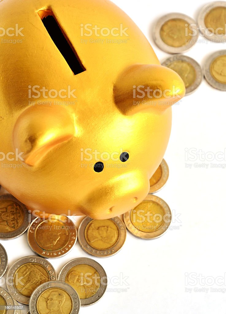 Golden Piggy Bank and Coins royalty-free stock photo