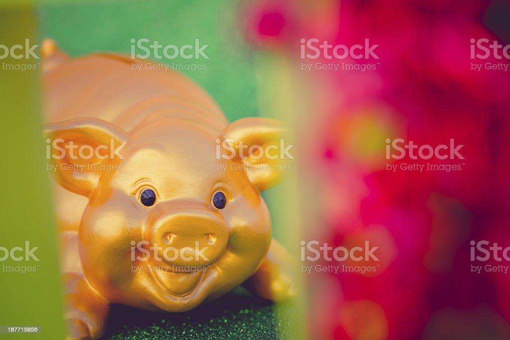 golden piggy bank behind a green christmas box stock photo