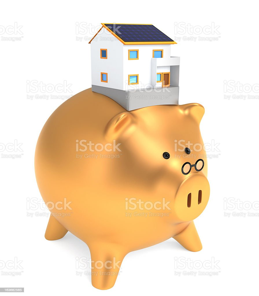 golden piggy bank carry house model royalty-free stock photo