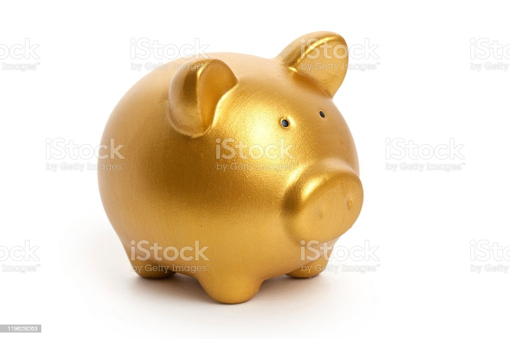 Golden Piggy Bank isolated on a white background stock photo