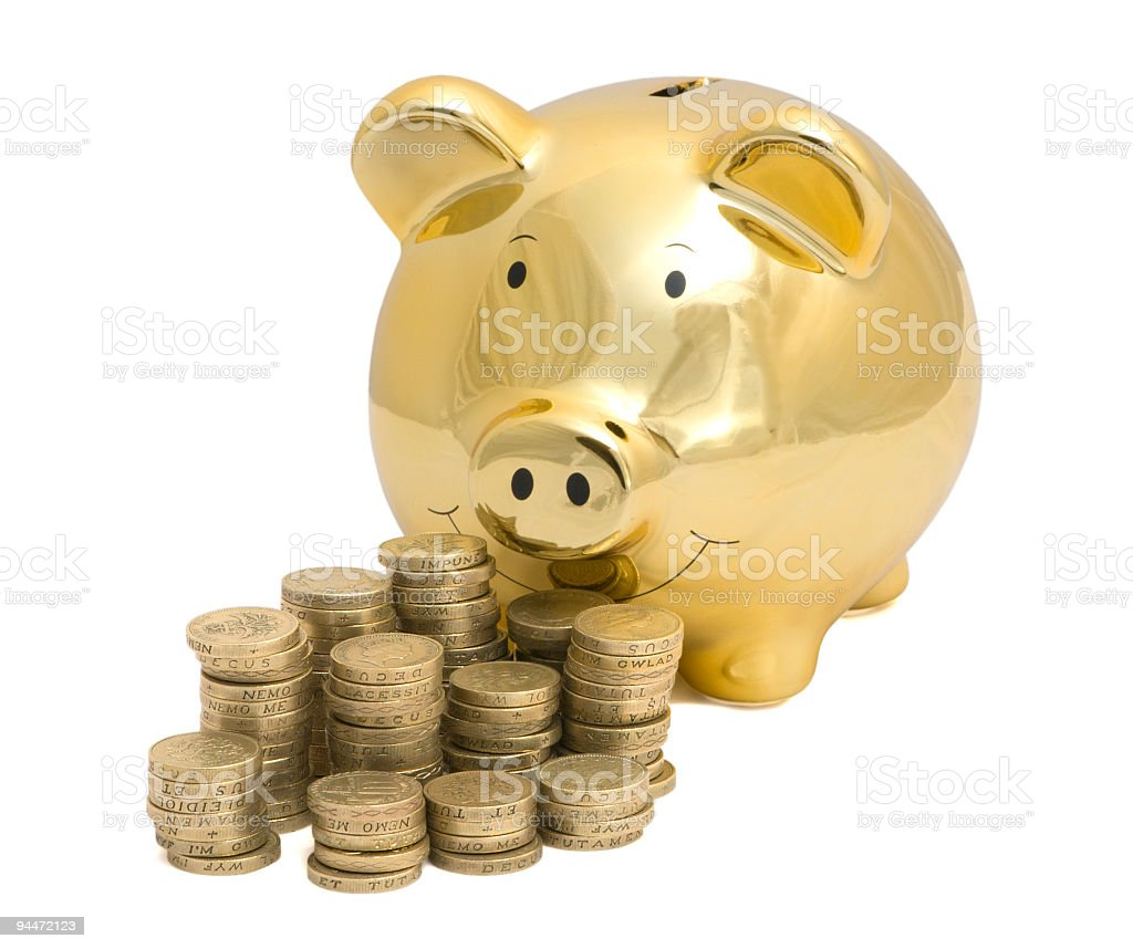 Golden piggy bank royalty-free stock photo
