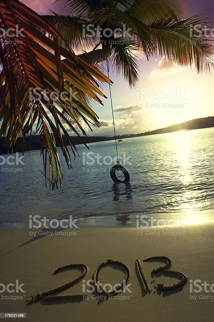 Golden Pink Sunset 2013 Message Tropical Beach with Tire Swing royalty-free stock photo