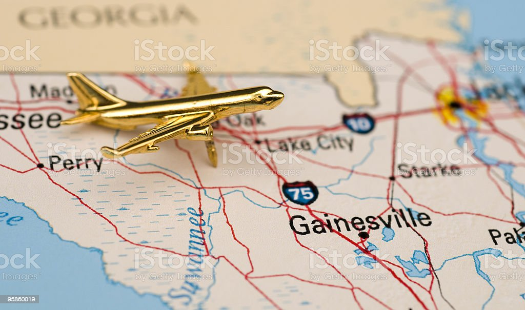 Golden Plane in Gainesville, Florida royalty-free stock photo