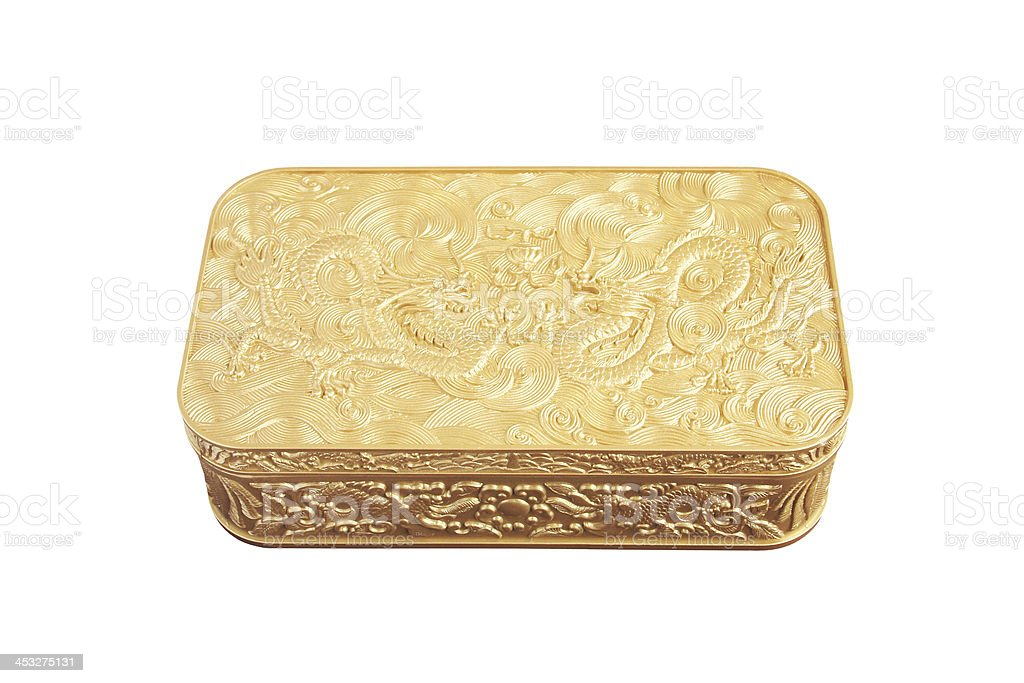 Golden plastic box isolated on white background stock photo