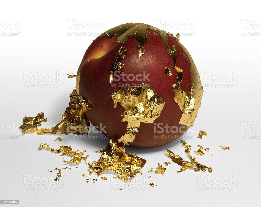 golden plated peeling peach royalty-free stock photo