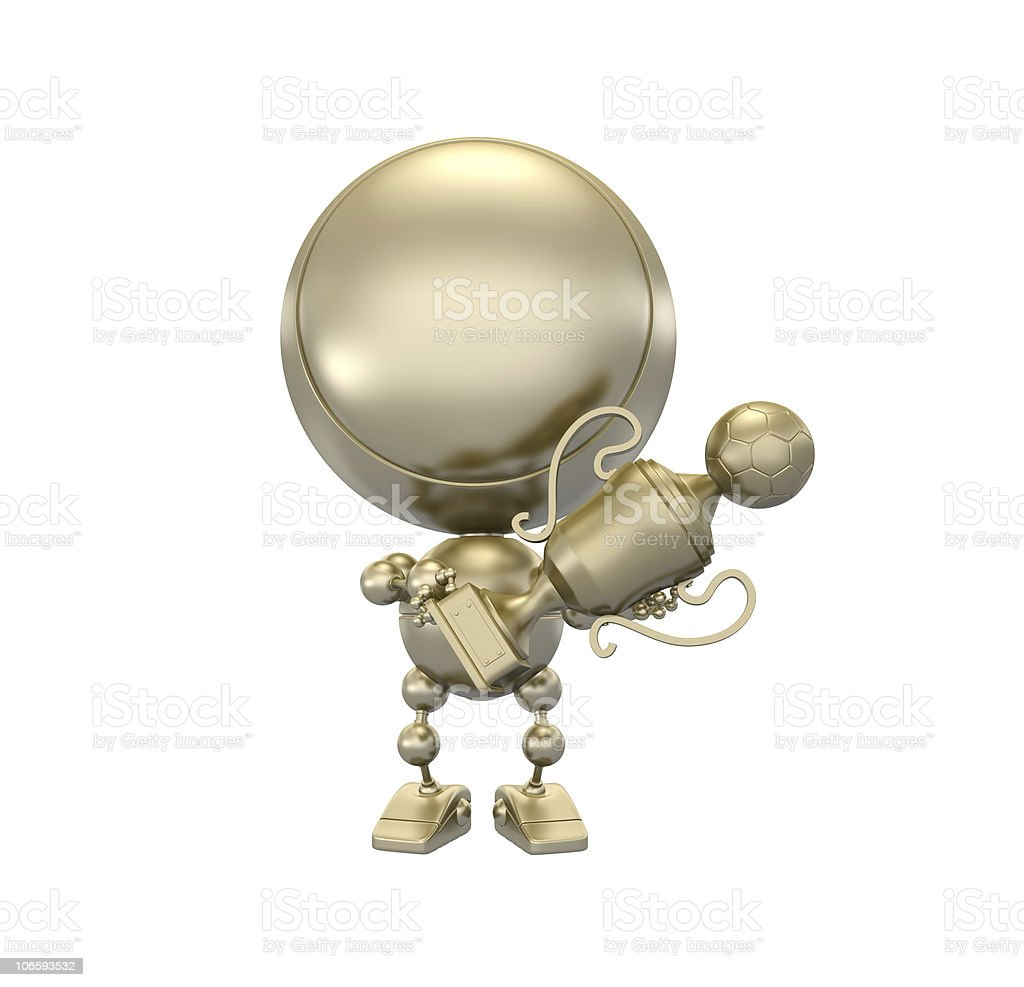 golden player shows gold football cup royalty-free stock photo