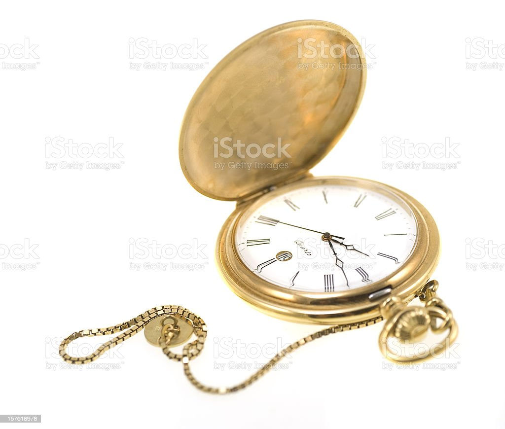 golden pocket watch isolated on white stock photo