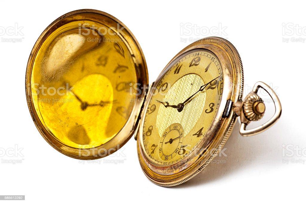 goldene Taschenuhr mit Sprungdeckel und Initialien um 1900 stock photo