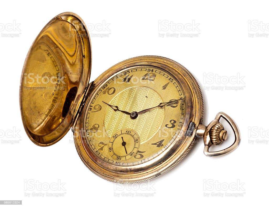 goldene Taschenuhr mit Sprungdeckel um 1900 stock photo