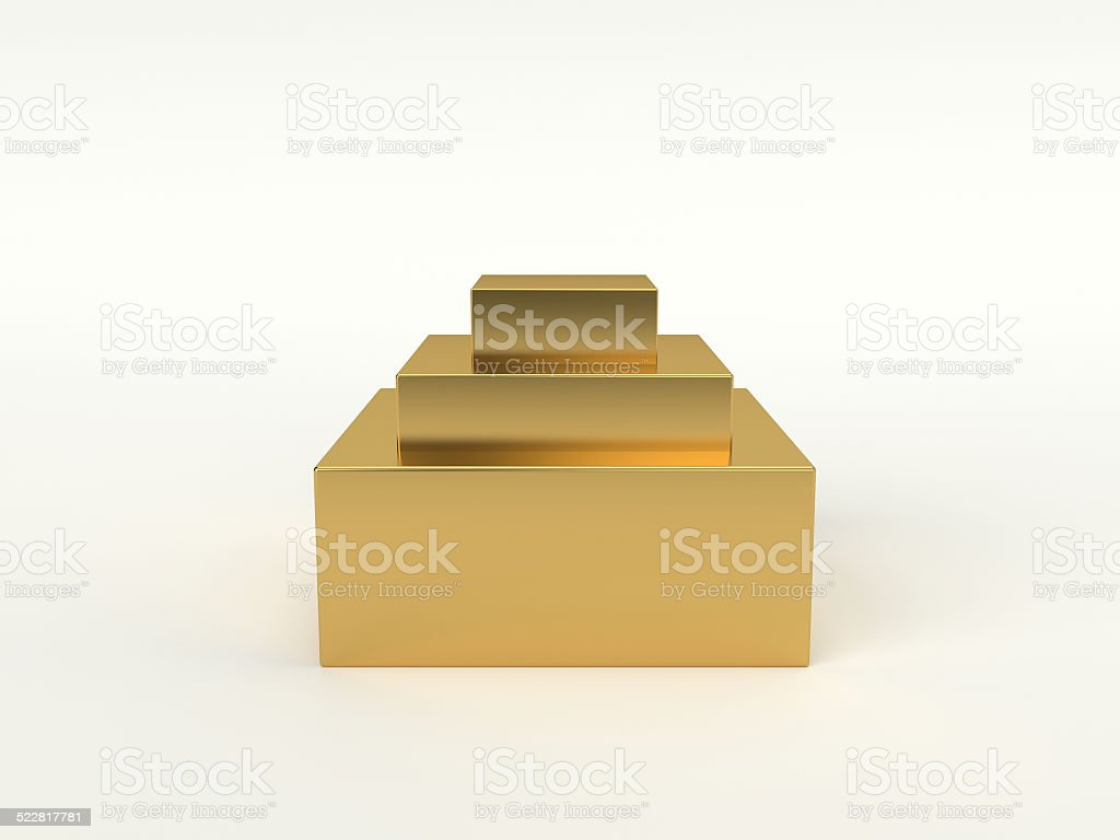Golden podium with three steps. 3D isolated stock photo